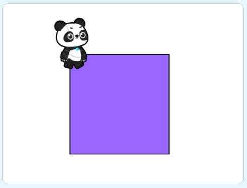 scène préparée avec un carré