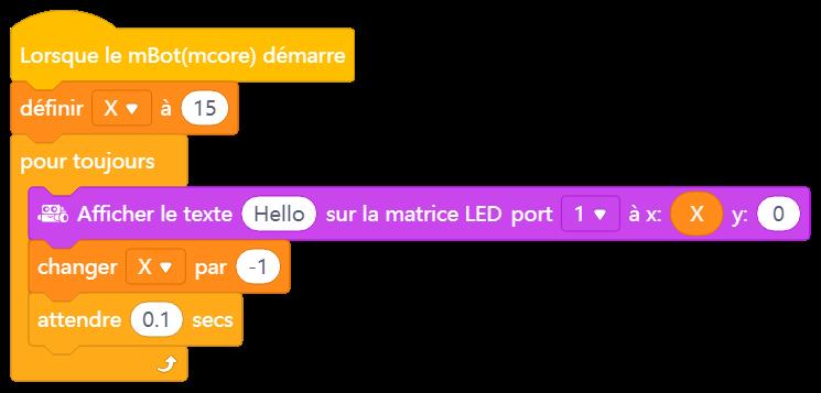 l'image représentant la déviation d'un texte sur la matrice LED mBot