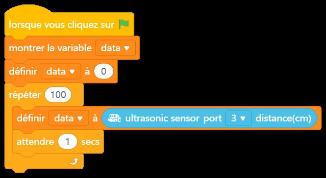 représentatif de l'image de l'utilisation du capteur sonique mBot