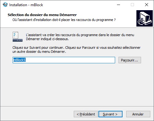 Nom de l'installation  de mBlock 5