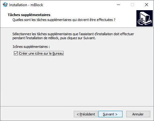 Choix d'une icône sur le bureau  de mBlock 5