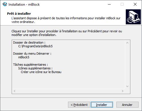 Résumé de l'installation de mBlock 5
