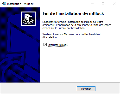 Terminer l'installation de mBlock 5 dans Windows 10