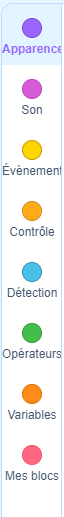 partie catégorie de blocs de l'interface graphique de scratch