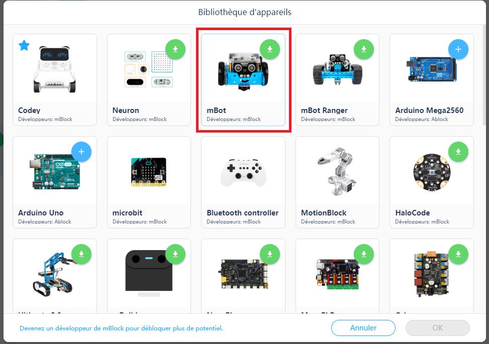 Installer les instructions du mBot, sélection de l'appareil