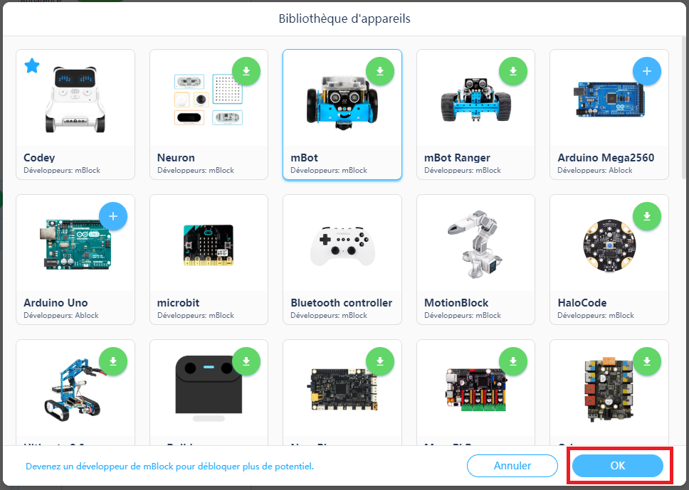 Installer les instructions du mBot, choix de l'appareil